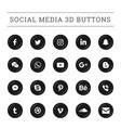 3d round social media button set vector image