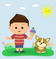 a boy in a red t-shirt and blue shorts is holding vector image vector image