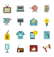 Advertisement icons set flat style vector image vector image