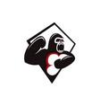 angry screaming gorilla logo icon vector image vector image
