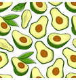 avocado ripe fruit and seeds and leaves pattern vector image