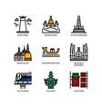 bangkok symbols and landmarks icons vector image vector image