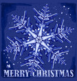 big snowflake on a blue background with vector image vector image