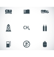 black natural gas icons set vector image vector image