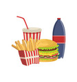 burger french fries soda drink fast food vector image