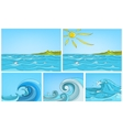 cartoon set of sea backgrounds vector image