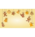 christmas gingerbread cookies hanging on ropes vector image
