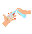 clean your handsusing alcohol spray