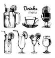 cocktailssoft drinks and glasses for bar vector image
