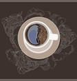 coffee mug on a plate white vector image