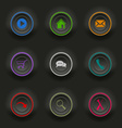 Colored set dark round buttons for web template vector image vector image