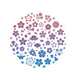 Colorful logo blossom flowers silhouettes isolated