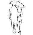 couple with an umbrella boy and girl sketch vector image vector image