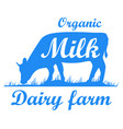 cow silhouette dairy farm vector image