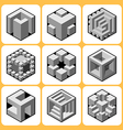 cube icon set 7 vector image vector image