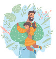 dad hugging his girl child fatherhood vector image