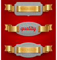 decorative emblems quality with golden ribbons vector image vector image