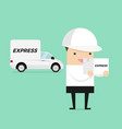 delivery man in white uniform carrying box vector image vector image