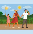 family walks in nature city park bushes vector image vector image