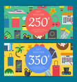 flat travel elements discount or gift card vector image vector image