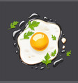 fried egg fast food vector image vector image