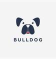 fun minimalist smiley bulldog logo icon vector image vector image