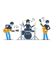 Guitarists and drums playing music three musicians vector image vector image