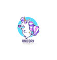 little cute unicorn holding a candy vector image vector image