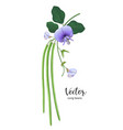 long beans with leaves and flower realistic design vector image