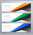 modern geometric banners set of three vector image vector image