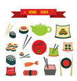 multicolored icons with tape on topic sushi vector image vector image