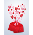Open red envelope with cute hearts Valentines day vector image vector image