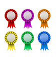 ribbon award badge red green blue yellow magenta vector image