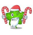 santa with candy mascot cartoon beautiful ivy leaf vector image vector image