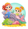 sea world background with mermaids on coral reef vector image