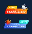 set breaking news headline covid-19 vector image vector image