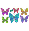set colorful ornamental butterflies isolated vector image vector image