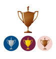 Set icons cups of winnericon trophy cup vector image vector image