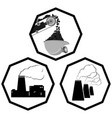set the coal industry icons vector image vector image