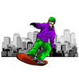 snowboarding sliding vector image vector image