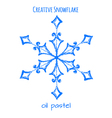 Snowflake hand drawn with oil pastels vector image vector image