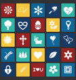 spring icons set on color squares background for vector image
