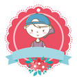 stylish boy cartoon outfit portrait floral frame vector image vector image