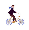 stylish elderly man riding bicycle flat vector image vector image
