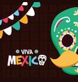 sugar skull mustache decoration celebration viva vector image