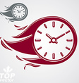 Time is running out concept timer with burning vector image