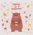 cute bear autumn card vector image