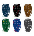 angry owl colorful set design template vector image