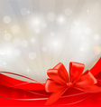 Background with red bow and ribbons