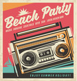 beach party retro poster vector image vector image